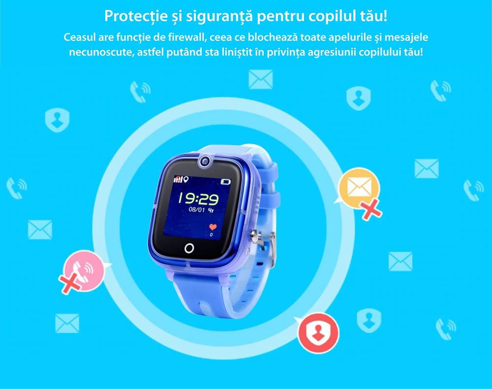 Ceas Smartwatch Pentru Copii Wonlex KT07 cu Functie Telefon, Localizare GPS, Camera, Apel Monitorizare, Pedometru, SOS – Roz, Cartela SIM Cadou
