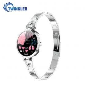 Ceas Smartwatch fashion Twinkler TKY-H5 cu functie de monitorizare ritm cardiac, Tensiune arteriala, Calitate somn, Notificari, Pedometru, Distanta parcursa, Incarcare magnetica, Argintiu