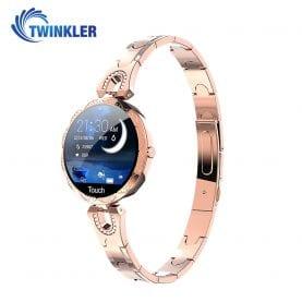 Ceas Smartwatch fashion Twinkler TKY-H5 cu functie de monitorizare ritm cardiac, Tensiune arteriala, Calitate somn, Notificari, Pedometru, Distanta parcursa, Incarcare magnetica, Auriu
