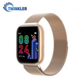 Ceas Smartwatch Twinkler TKY-P4 Metal cu functie de monitorizare ritm cardiac, Tensiune arteriala, Nivel oxigen, Distanta parcursa, Afisare mesaje, Prognoza meteo, Auriu