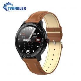 Ceas Smartwatch Twinkler TKY-M9 (L9) cu functie de monitorizare ritm cardiac, Tensiune arteriala, EKG, Nivel oxigen, Notificari Apel/ SMS, Incarcare magnetica, Maro