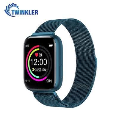 Ceas Smartwatch Twinkler TKY-P4 Metal cu functie de monitorizare ritm cardiac, Tensiune arteriala, Nivel oxigen, Distanta parcursa, Afisare mesaje, Prognoza meteo, Albastru