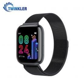Ceas Smartwatch Twinkler TKY-P4 Metal cu functie de monitorizare ritm cardiac, Tensiune arteriala, Nivel oxigen, Distanta parcursa, Afisare mesaje, Prognoza meteo, Negru