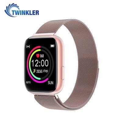 Ceas Smartwatch Twinkler TKY-P4 Metal cu functie de monitorizare ritm cardiac, Tensiune arteriala, Nivel oxigen, Distanta parcursa, Afisare mesaje, Prognoza meteo, Roz