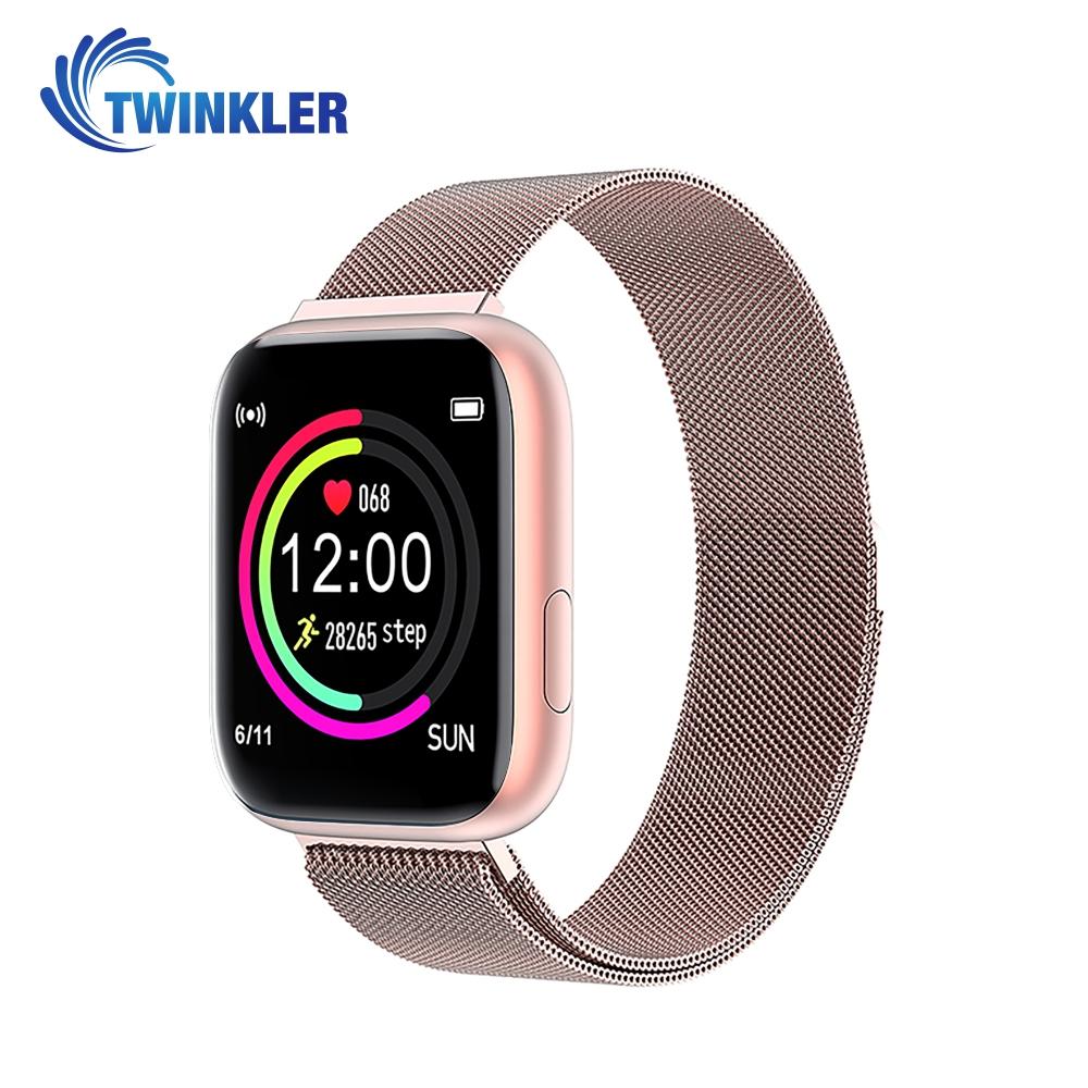 Ceas Smartwatch Twinkler TKY-P4 Metal cu functie de monitorizare ritm cardiac, Tensiune arteriala, Nivel oxigen, Distanta parcursa, Afisare mesaje, Prognoza meteo, Roz imagine