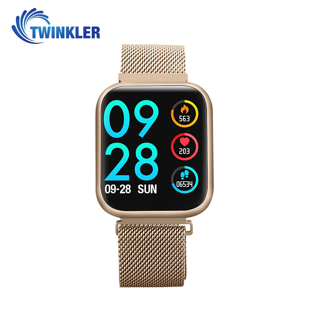Ceas Smartwatch TKY-P80 cu functie de monitorizare ritm cardiac, Tensiune arteriala, Nivel oxigen, Monitorizare somn, Notificari Apel/ SMS, Bluetooth, Incarcare magnetica, Auriu