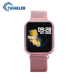Ceas Smartwatch TKY-P80 cu functie de monitorizare ritm cardiac, Tensiune arteriala, Nivel oxigen, Monitorizare somn, Notificari Apel/ SMS, Bluetooth, Incarcare magnetica, Roz