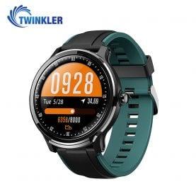 Ceas Smartwatch TKY-QS80 cu functie de monitorizare ritm cardiac, Tensiune arteriala, Nivel oxigen, Pedometru, Distanta parcursa, Calorii arse, Notificari Apel/ SMS, Negru-Verde