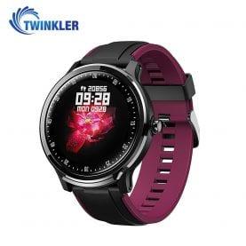 Ceas Smartwatch TKY-QS80 cu functie de monitorizare ritm cardiac, Tensiune arteriala, Nivel oxigen, Pedometru, Distanta parcursa, Calorii arse, Notificari Apel/ SMS, Negru-Violet