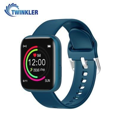 Ceas Smartwatch Twinkler TKY-P4 Silicon cu functie de monitorizare ritm cardiac, Tensiune arteriala, Nivel oxigen, Distanta parcursa, Afisare mesaje, Prognoza meteo, Albastru