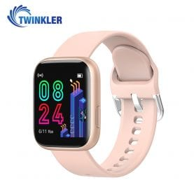 Ceas Smartwatch Twinkler TKY-P4 Silicon cu functie de monitorizare ritm cardiac, Tensiune arteriala, Nivel oxigen, Distanta parcursa, Afisare mesaje, Prognoza meteo, Auriu