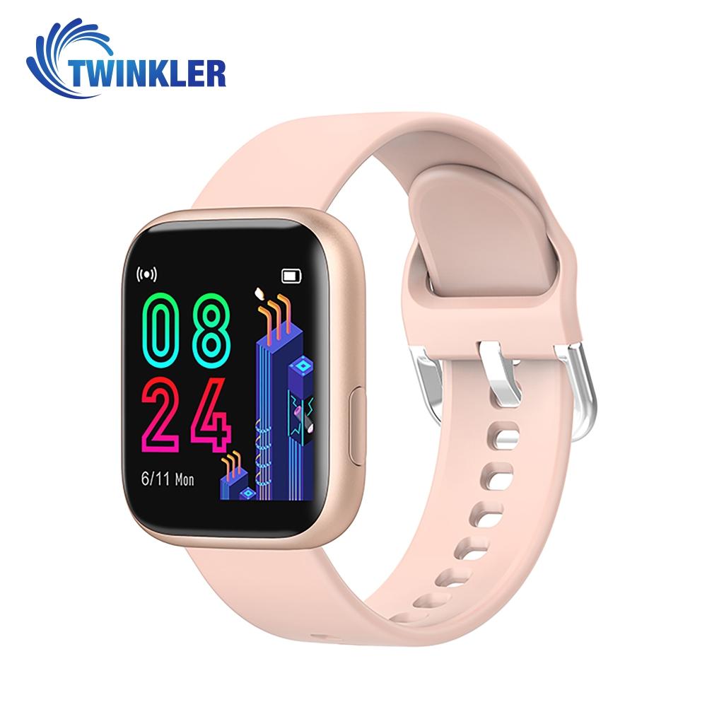 Ceas Smartwatch Twinkler TKY-P4 Silicon cu functie de monitorizare ritm cardiac, Tensiune arteriala, Nivel oxigen, Distanta parcursa, Afisare mesaje, Prognoza meteo, Auriu imagine
