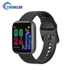 Ceas Smartwatch Twinkler TKY-P4 Silicon cu functie de monitorizare ritm cardiac, Tensiune arteriala, Nivel oxigen, Distanta parcursa, Afisare mesaje, Prognoza meteo, Negru