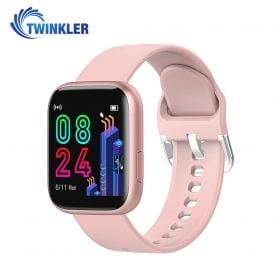 Ceas Smartwatch Twinkler TKY-P4 Silicon cu functie de monitorizare ritm cardiac, Tensiune arteriala, Nivel oxigen, Distanta parcursa, Afisare mesaje, Prognoza meteo, Roz