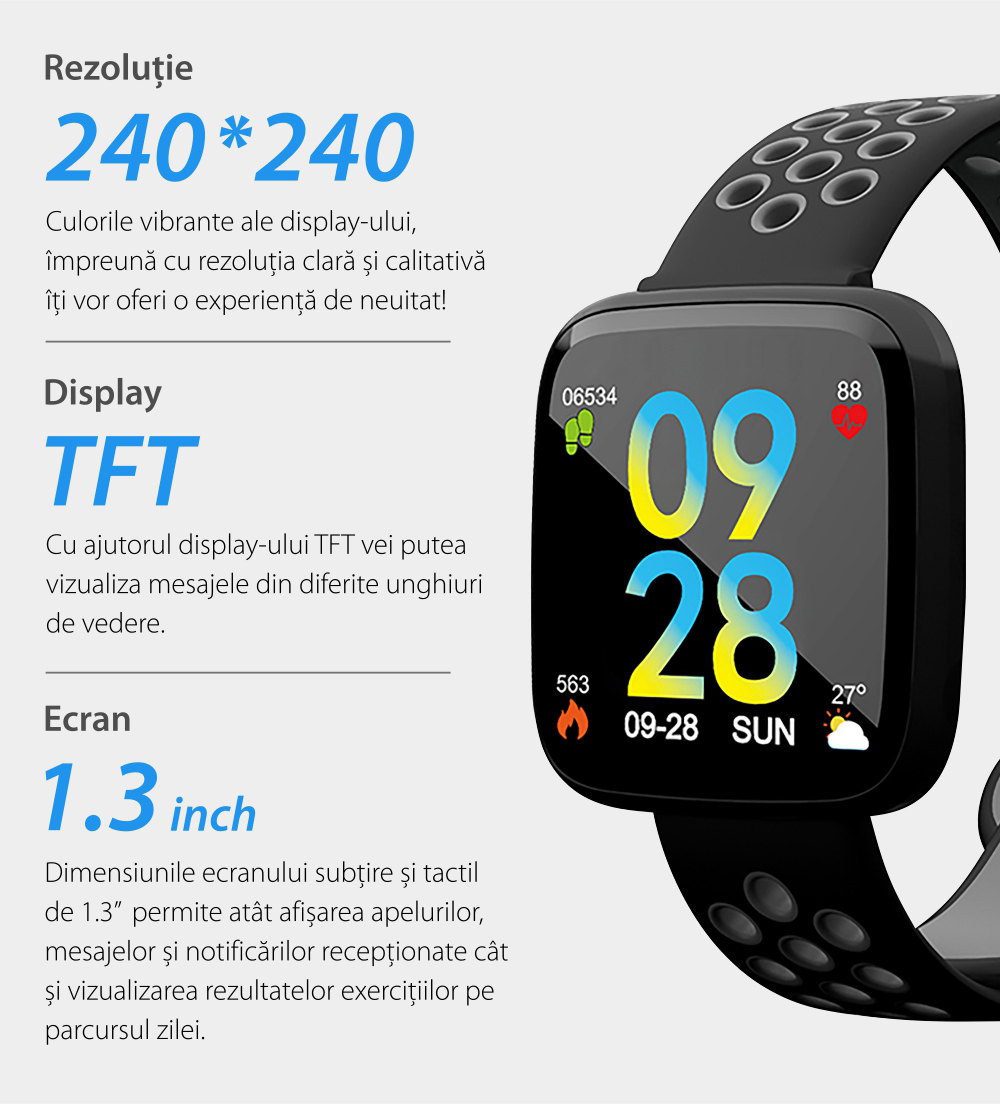 Bratara fitness inteligenta TKY-F15 cu functie de monitorizare ritm cardiac, Tensiune arteriala, Nivel oxigen, Monitorizare somn, Notificari Apel/ SMS, Incarcare magnetica, Negru-Verde