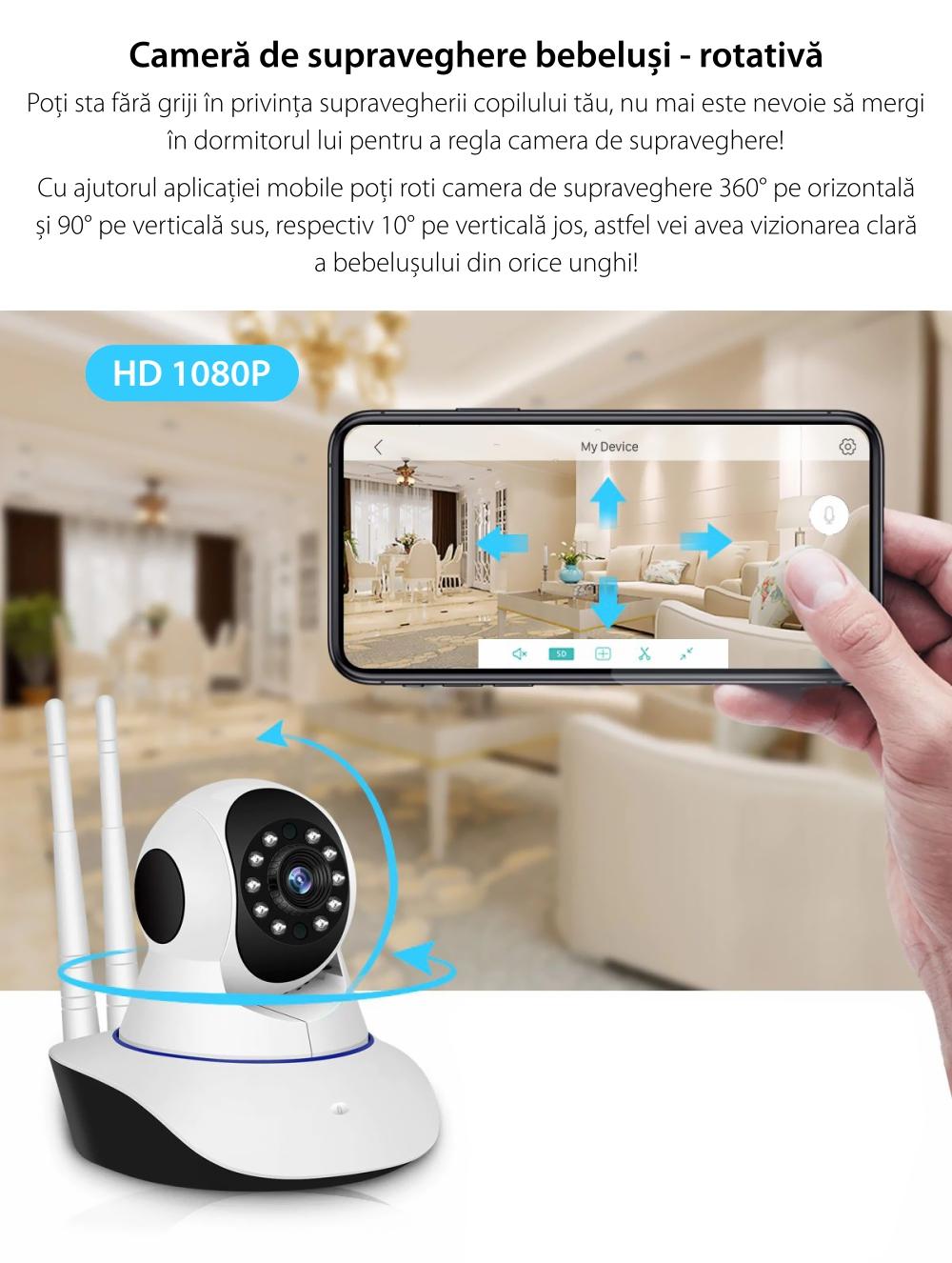 Baby Monitor Wireless BS-IP22L (BS-IP26L), Monitorizare Audio – Video, Comunicare bidirectionala, Night Vision, Senzor de miscare, Camera rotativa, Alarma, Control de pe telefonul mobil