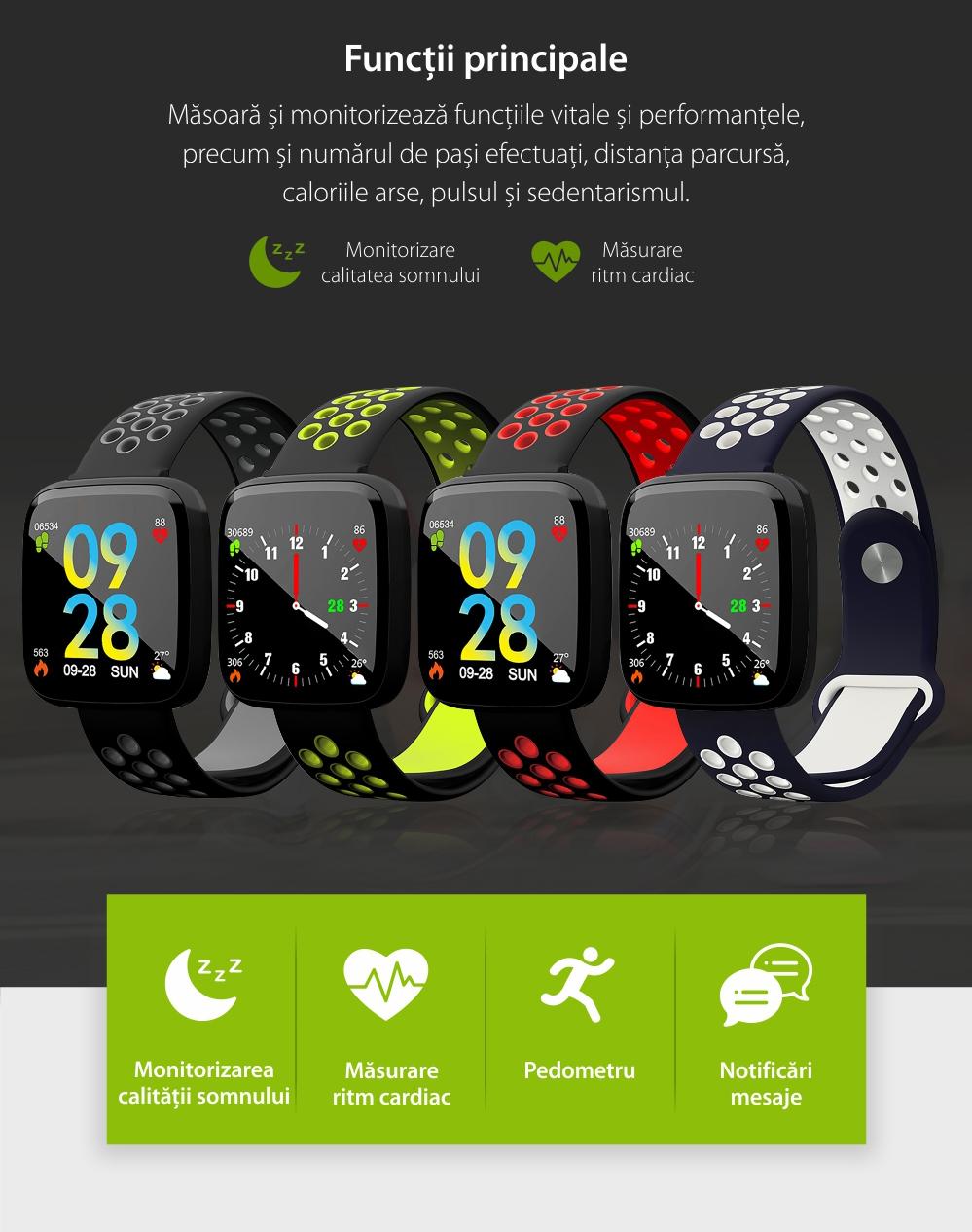 Bratara fitness inteligenta TKY-F15 cu functie de monitorizare ritm cardiac, Tensiune arteriala, Nivel oxigen, Monitorizare somn, Notificari Apel/ SMS, Incarcare magnetica, Negru-Gri