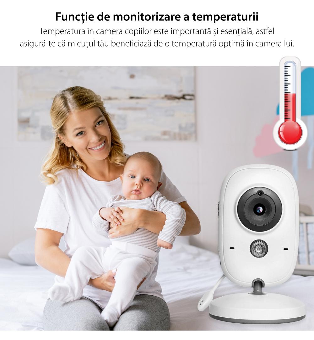 Baby Monitor Wireless BS-W216, Ecran 2.0″, Monitorizare Audio – Video, Monitorizare temperatura, Comunicare bidirectionala, Cantece, Automatic Night Vision, Baterie incorporata