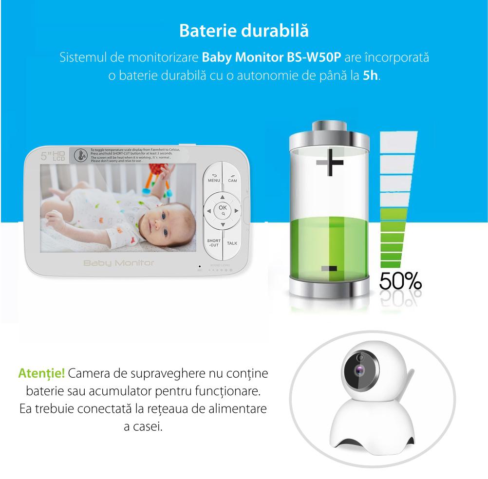 Baby Monitor Wireless BS-W50P, Ecran 5.0″, Monitorizare Audio – Video, Monitorizare temperatura, Comunicare bidirectionala, Cantece, Night Vision, Baterie incorporata