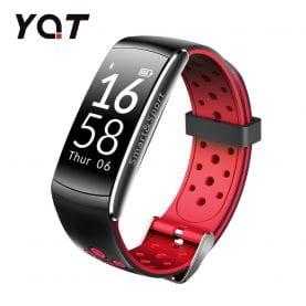 Bratara fitness inteligenta YQT Q8 cu functie de monitorizare ritm cardiac, Tensiune arteriala, Monitorizare somn, Pedometru, Notificari, Negru – Rosu