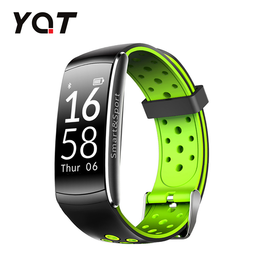 Bratara fitness inteligenta YQT Q8 cu functie de monitorizare ritm cardiac, Tensiune arteriala, Monitorizare somn, Pedometru, Notificari, Negru – Verde imagine