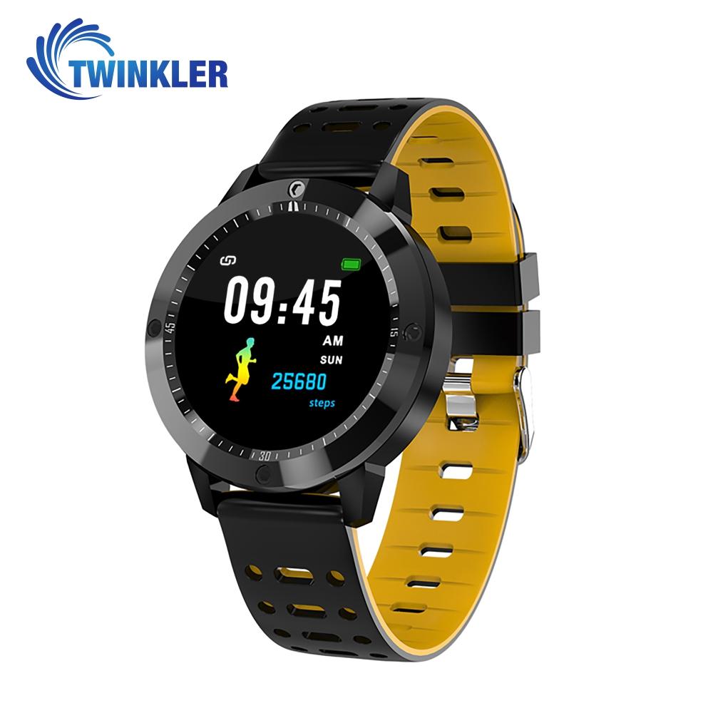 Ceas Smartwatch Twinkler TKY-CF58 cu functie de monitorizare ritm cardiac, Tensiune arteriala, Nivel oxigen, Calitate somn, Notificari Apeluri/ SMS, Vizualizare mesaje, Bluetooth, Galben imagine