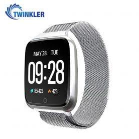 Ceas Smartwatch Twinkler TKY-Y7 cu functie de monitorizare ritm cardiac, Tensiune arteriala, Calitate somn, Distanta parcursa, Calorii arse, Afisare mesaje, Incarcare magnetica, Argintiu