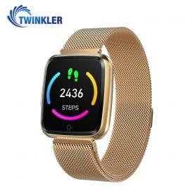 Ceas Smartwatch Twinkler TKY-Y7 cu functie de monitorizare ritm cardiac, Tensiune arteriala, Calitate somn, Distanta parcursa, Calorii arse, Afisare mesaje, Incarcare magnetica, Auriu