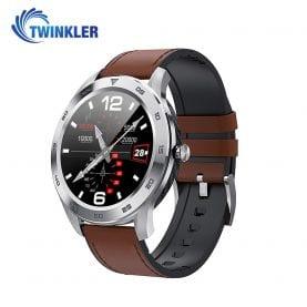 Ceas Smartwatch Twinkler TKY-SW10 cu functie de monitorizare ritm cardiac, Tensiune arteriala, EKG, Istoric apeluri, Agenda, Apelare prin Bluetooth, Argintiu – Maro