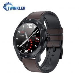 Ceas Smartwatch Twinkler TKY-SW10 cu functie de monitorizare ritm cardiac, Tensiune arteriala, EKG, Istoric apeluri, Agenda, Apelare prin Bluetooth, Negru – Maro