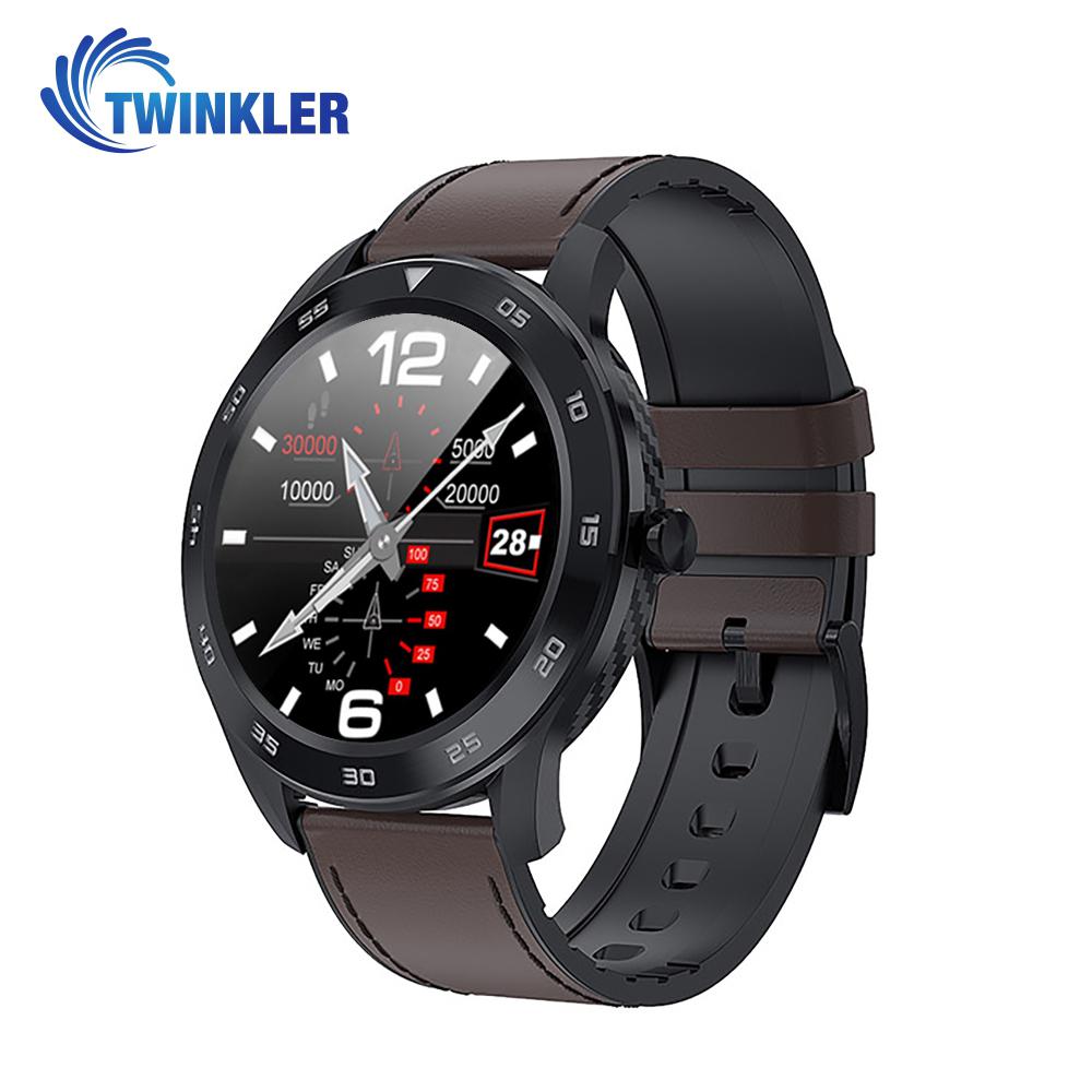 Ceas Smartwatch Twinkler TKY-SW10 cu functie de monitorizare ritm cardiac, Tensiune arteriala, EKG, Istoric apeluri, Agenda, Apelare prin Bluetooth, Negru – Maro imagine