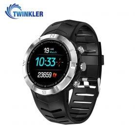 Ceas Smartwatch Twinkler TKY-DT08 cu functie de monitorizare variabilitate ritm cardiac (VRC), Tensiune arteriala, Calitate somn, Barometru, Altitudine, Busola, Argintiu – Negru