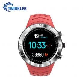 Ceas Smartwatch Twinkler TKY-DT08 cu functie de monitorizare variabilitate ritm cardiac (VRC), Tensiune arteriala, Calitate somn, Barometru, Altitudine, Busola, Rosu