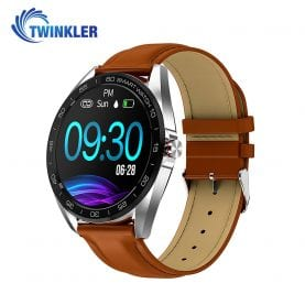 Ceas Smartwatch Twinkler TKY-K7 cu functie de monitorizare ritm cardiac, Tensiune arteriala, Distanta parcursa, Notificari Apel/ SMS, Bluetooth, Maro