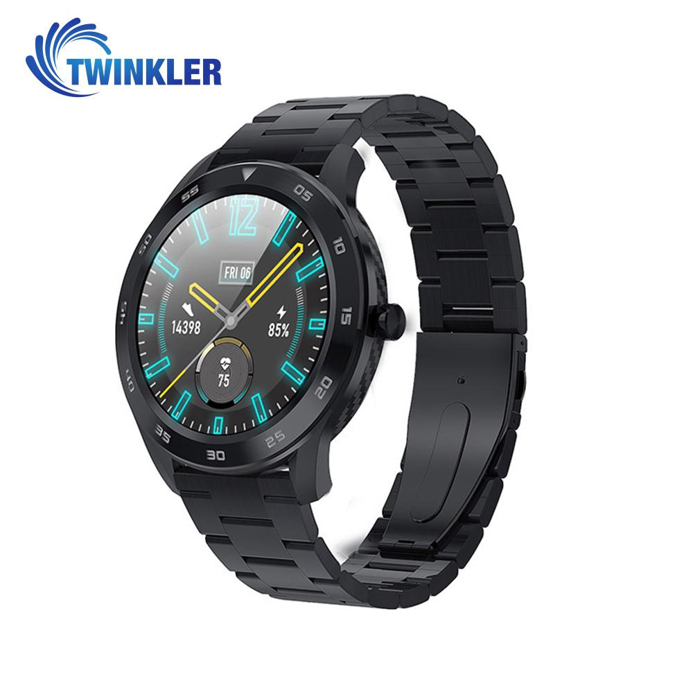 Ceas Smartwatch Twinkler TKY-SW10 cu functie de monitorizare ritm cardiac, Tensiune arteriala, EKG, Istoric apeluri, Agenda, Apelare prin Bluetooth, Metal, Negru imagine
