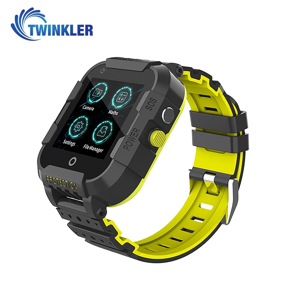 Ceas Smartwatch Pentru Copii Twinkler TKY-DF27 cu Functie Telefon, Apel video, Localizare GPS, Istoric traseu, Camera, SOS, Android, 4G, IP54, Joc Matematic, Negru - Verde Lamaie, Cartela SIM Cadou