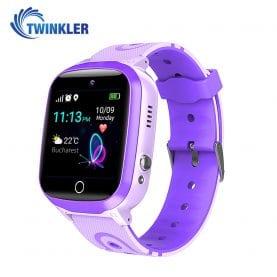 Ceas Smartwatch Pentru Copii Twinkler TKY-Q15 cu Functie Telefon, Localizare GPS, Istoric traseu, Apel de Monitorizare, Camera, SOS, Joc Matematic, Mov, Cartela SIM Cadou