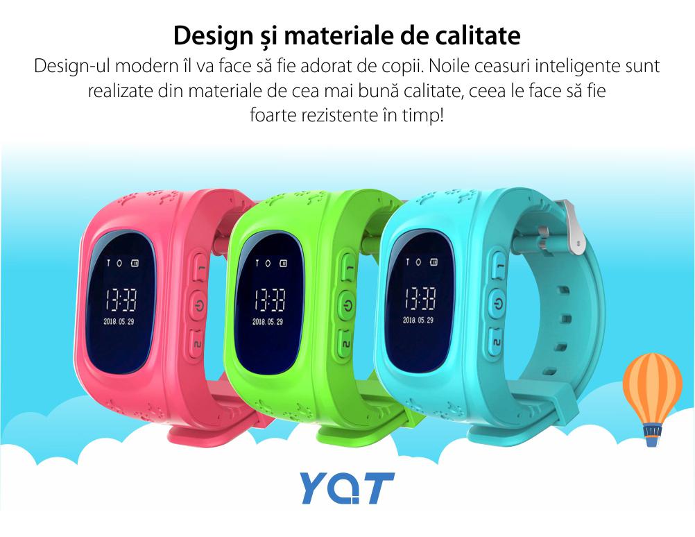 Ceas Smartwatch Pentru Copii YQT Q50 cu Functie Telefon, Localizare GPS, Pedometru, SOS – Verde, Cartela SIM Cadou