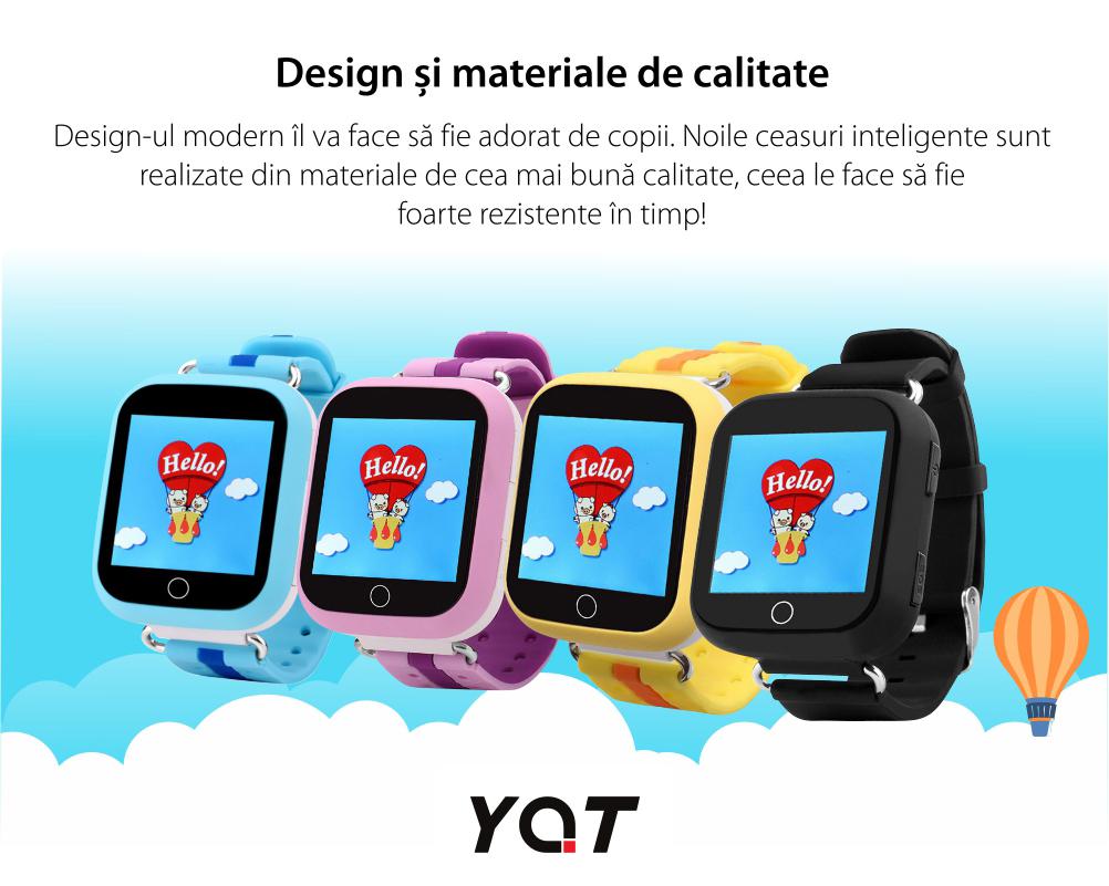 Ceas Smartwatch Pentru Copii YQT Q750 cu Functie Telefon, Localizare GPS, Apel de Monitorizare, Pedometru, SOS, Albastru