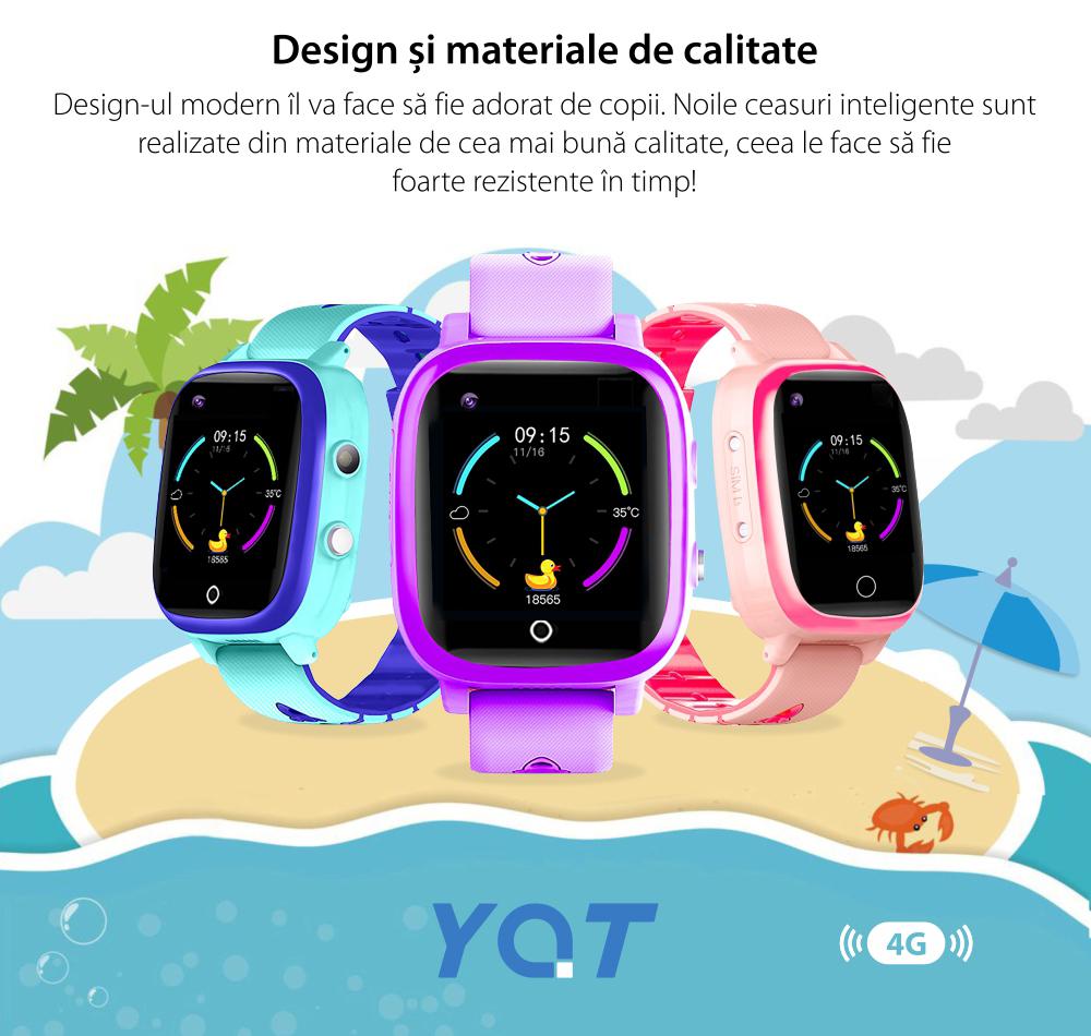 Ceas Smartwatch Pentru Copii YQT T5 cu Functie Telefon, Apel video, Localizare GPS, Istoric traseu, Apel de Monitorizare, Camera, Lanterna, Android, 4G, Albastru, Cartela SIM Cadou