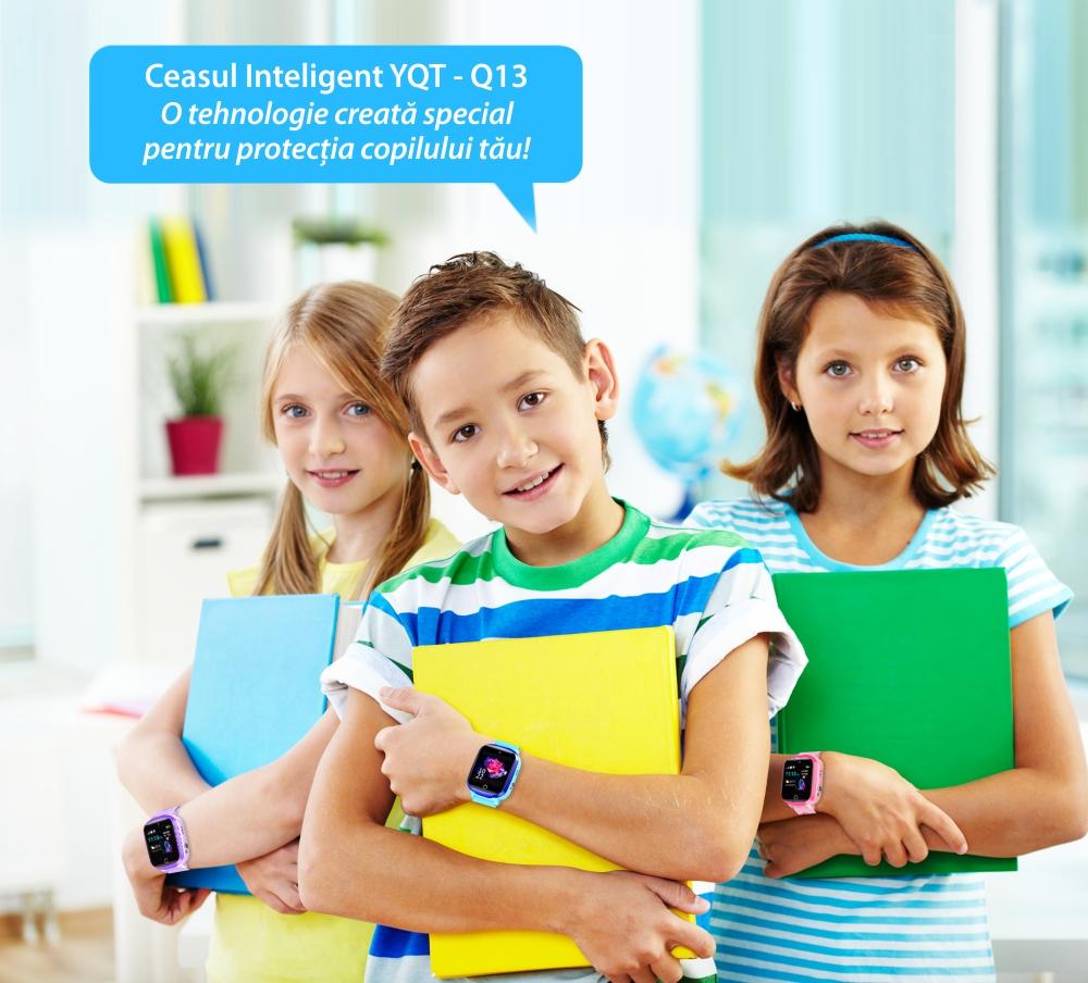 Ceas Smartwatch Pentru Copii YQT Q13 cu Functie Telefon, Localizare GPS, Istoric traseu, Apel de Monitorizare, Camera, SOS, Joc Matematic, Albastru, Cartela SIM Cadou