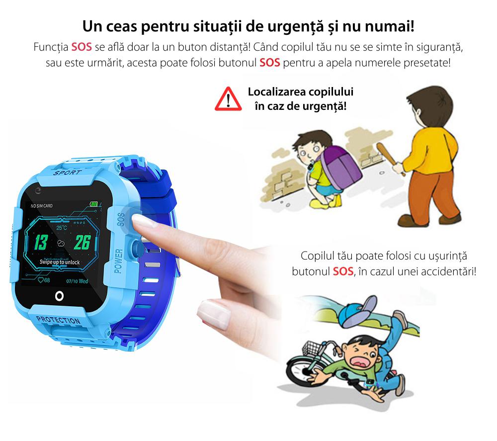 Ceas Smartwatch Pentru Copii Twinkler TKY-DF27 cu Functie Telefon, Apel video, Localizare GPS, Istoric traseu, Camera, SOS, Android, 4G, IP54, Joc Matematic, Negru – Verde Lamaie, Cartela SIM Cadou
