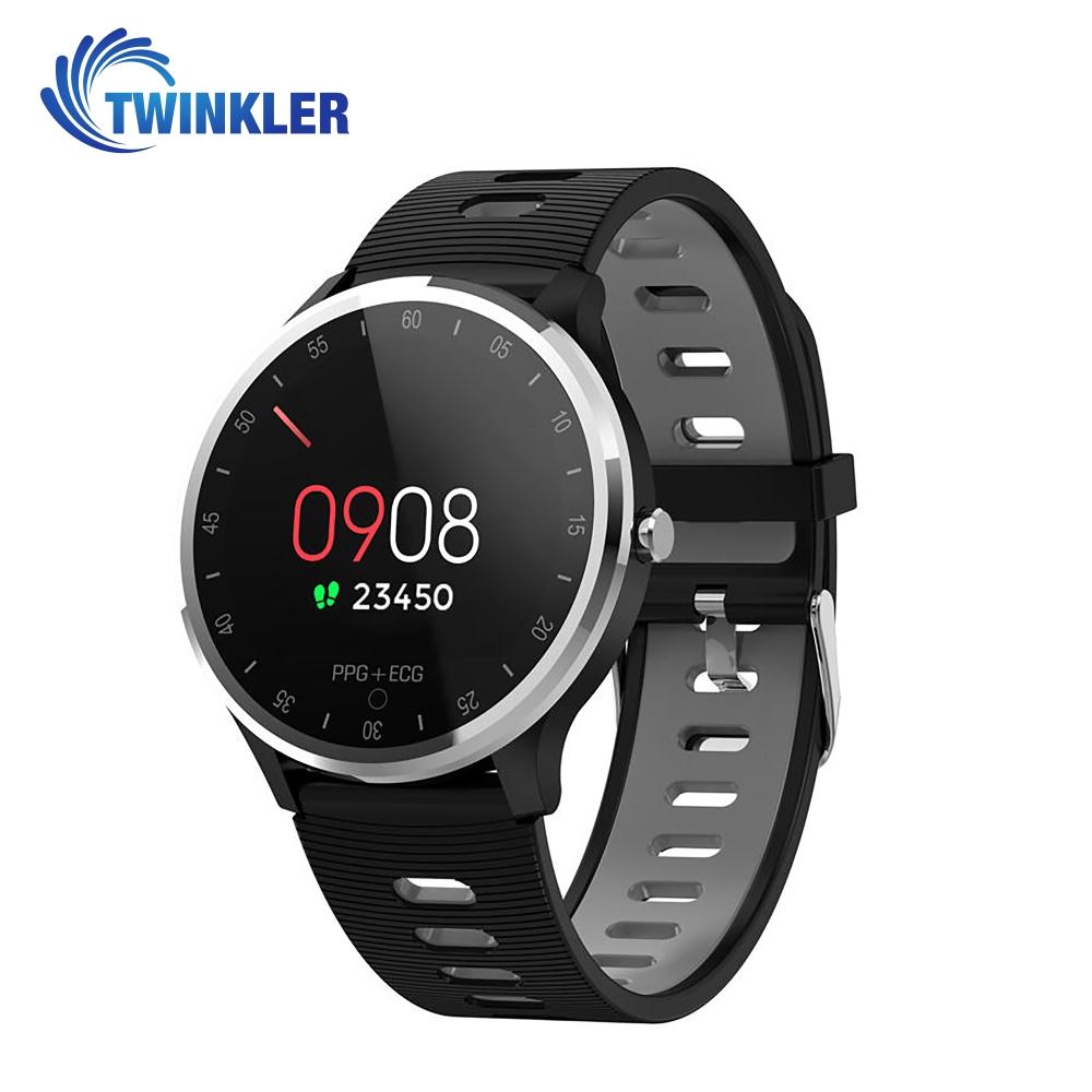 Ceas Smartwatch Twinkler TKY-A9 cu functie de monitorizare ritm cardiac, Tensiune arteriala, Nivel oxigen, Calitate somn, EKG, PPG, Notificari apeluri/ mesaje, Gri imagine