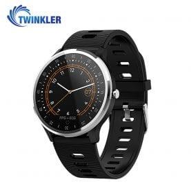 Ceas Smartwatch Twinkler TKY-A9 cu functie de monitorizare ritm cardiac, Tensiune arteriala, Nivel oxigen, Calitate somn, EKG, PPG, Notificari apeluri/ mesaje, Negru
