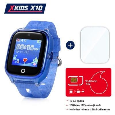 Pachet Promotional Ceas Copii + Folie Protectie Sticla + Cartela SIM, Xkids X10 cu Functie Telefon, Localizare GPS, Apel monitorizare, Camera, Pedometru, SOS, IP54, Albastru