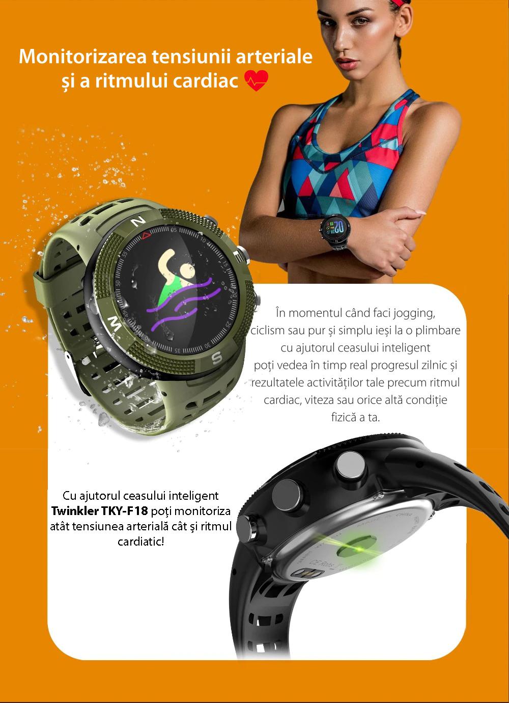 Ceas Smartwatch Twinkler TKY-F18 cu functie de monitorizare ritm cardiac, Nivel calitate somn, GPS, Busola, Incarcare magnetica, Verde