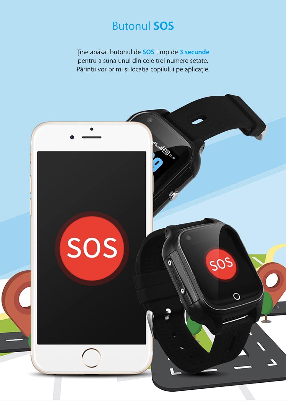 Ceas Smartwatch Pentru Copii i365-Tech FA28 cu Functie Telefon, Apel video, Localizare GPS, Camera, Pedometru, SOS, IP54, 4G, Negru