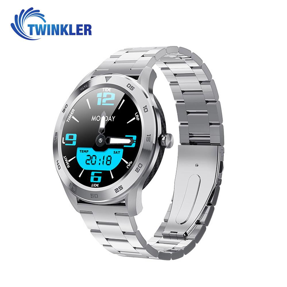 Ceas Smartwatch Twinkler TKY-SW10 cu functie de monitorizare ritm cardiac, Tensiune arteriala, EKG, Istoric apeluri, Agenda, Apelare prin Bluetooth, Metal, Argintiu imagine