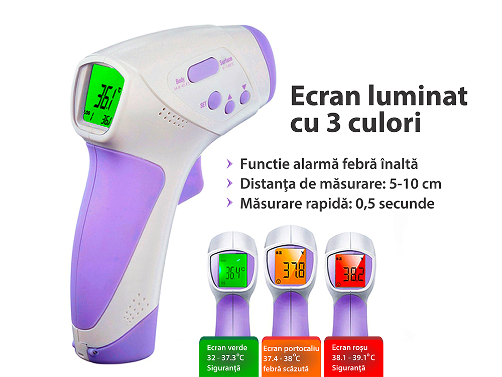 Termometru digital cu infrarosu non contact, de mare precizie, detectare temperatura 0.5 secunde,  model HT – 668