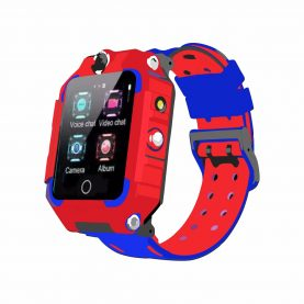 Ceas Smartwatch Pentru Copii YQT T10-360, 4G, GPS, Rotire 360 grade, Apel video, Rezistent la apa, Camera duala, Rosu